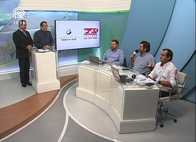 João Gabriel, Guilhermo Sanchez, Fernando Barros, Marcelo Moura e Paulo Henrique durante transmissão do Canal Rural